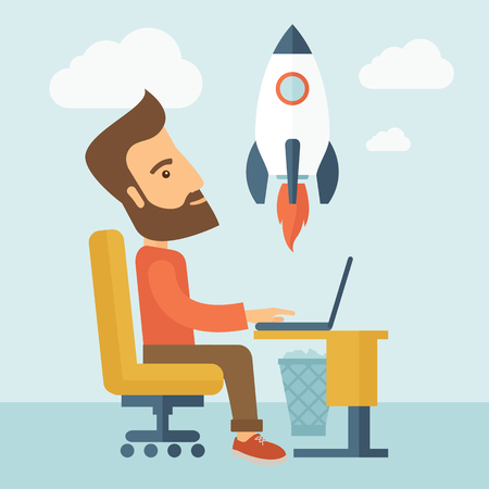 it support: An enthusiastic, eager hipster Caucasian young man with beard sitting in front of his laptop browsing, researching  and planning a metaphor for new business. On-line start up business concept. A Contemporary style with pastel palette, soft blue tinted bac Stock Photo