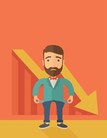 Unhappy, sad Caucasian hipster businessman with beard wearing a red bow tie standing with empty pockets. An arrow pointing downward showing that he is a failure. Loser, broke concept. A contemporary style with pastel palette, orange tinted background. fla