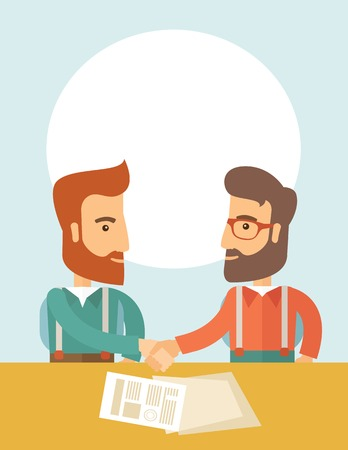 signing papers: Two successful hipster Caucasian businessmen with beard facing each other handshaking. Hipster businessmen on a meeting signing the agreement with papers on the table. Partnership, leadership concept. A contemporary style with pastel palette, soft blue ti