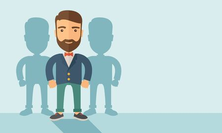 A confidently, contented young Caucasian hipster man with beard  happily standing showing that he is successful in life about teambuilding sprite. Happy, winner concept. A contemporary style with pastel palette, soft blue tinted background. flat design il
