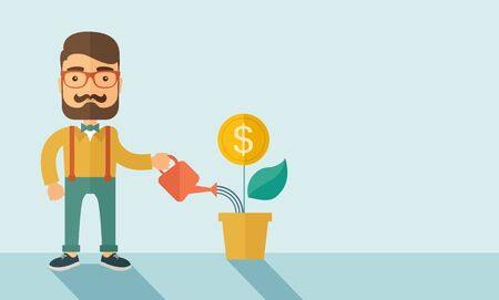 stockholder: A  Stockholder, investor hipster Caucasian businessman with beard happily watering a plant with a dollar sign on the top of it. Career, investor concept.  A contemporary style with pastel palette soft blue background. flat design illustration . Horizontal