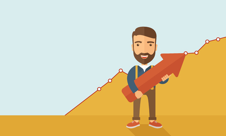 lucky man: A lucky young  hipster Caucasian man with beard  carrying a red arrow pointing upward showing for his successful plan in business.  Business growth, prosperity concept. A contemporary style with pastel palette, yellow and blue tinted background. flat desi