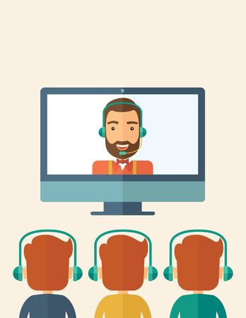 A happy Caucasian businessman in a monitor with beard giving a business presentation with three men infront of him wearing their headphones . Business presentation concept. A contemporary style with pastel palette, beige tinted background. flat design ill Zdjęcie Seryjne