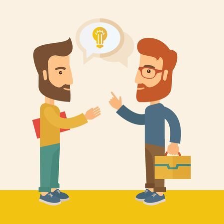 brilliant ideas: Two hipster Caucasian friends with beard standing  planning and sharing brilliant ideas with their hands raising on what kind of business they want to build up.  Human intelligence concept. A contemporary style with pastel palette, soft  pink tinted backg