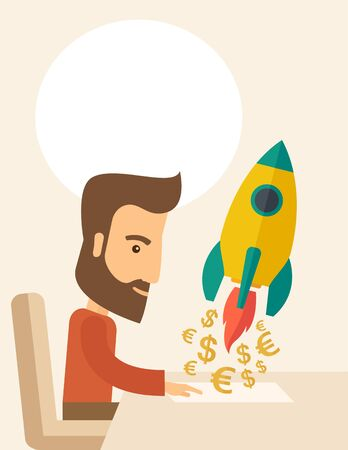 A Caucasian young man with beard sitting with those EURO and DOLLAR sign infront of him, it is a symbol of  starting new project. Launch a new innovation product concept. A contemporary style with pastel palette, beige tinted background. flat design illus Stock Photo