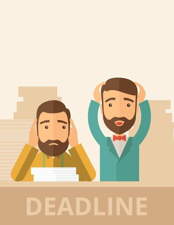 miserable: Two sad face hipster Caucasian gentlemen with beard has a big problem because they failed to submit their project  on time with thier hands raising. Disappointed, miserable concept. A contemporary style with pastel palette, beige tinted background. flat d