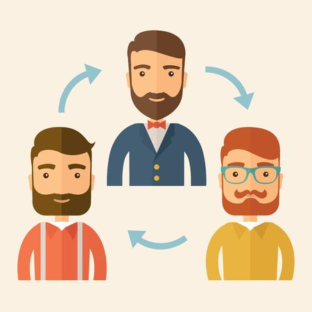 swapping: Three happy Caucasian employees with beard communicating and exchanging ideas each other for them to  come up a   good marketing strategy before they will present it. Teamwork and gathering ideas concept. A contemporary style with pastel palette, beige ti