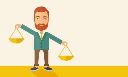 necessity: A hipster Caucasian businessman with beard carrying a balance scale with both hands weighing want and need. Balancing and priorization concept.  A contemporary style with pastel palette, beige tinted background. flat design illustration. Horizontal layout