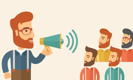 Three hipster Caucasian businesspeople with beard at office smiling together happy listening to their speaker holding a megaphone discussing a business proposal. Business meeting concept. A contemporary style with pastel palette, beige tinted background.  Stock Photo
