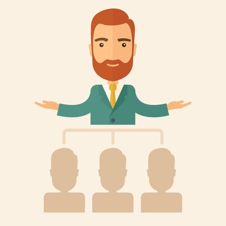 good looking: An executive good looking and happy  Caucasian with beard explaining and presenting a business marketing plans to his employees infront of him inside the training room. Planning a business concept. A contemporary style with pastel palette, beige tinted ba