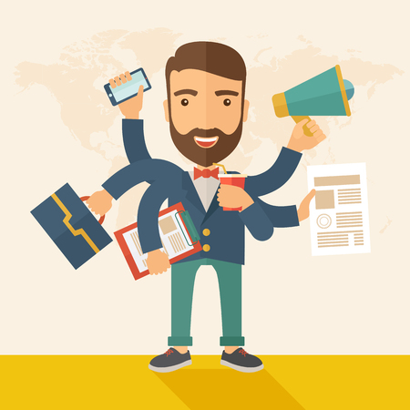 competent: A young happy hipster Caucasian with beard has six arms doing multiple office tasks at once as a symbol of the ability to multitask, performing multiple task simultaneously. Multitasking concept. A contemporary style with pastel palette, beige tinted back Stock Photo