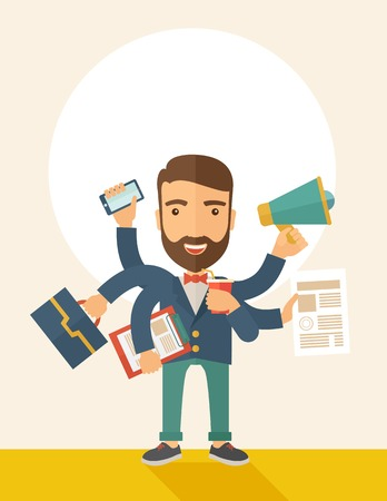once: A young happy hipster Caucasian with beard has six arms doing multiple office tasks at once as a symbol of the ability to multitask, performing multiple task simultaneously. Multitasking concept. A contemporary style with pastel palette, beige tinted back Stock Photo