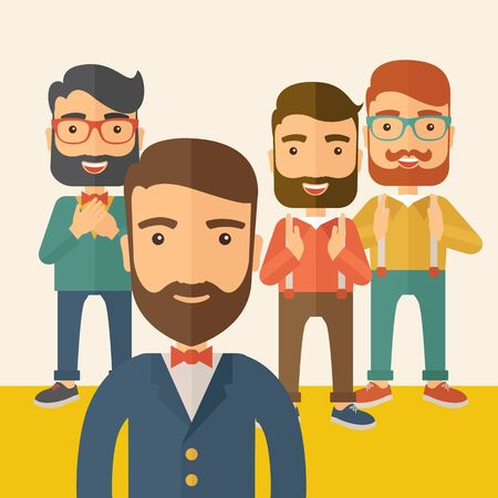 scribe: Team of four happy hipster Caucasian business people with beard, standing clapping their hands and smiling. Winner, teamwork concept. A contemporary style with pastel palette, beige tinted background. flat design illustration. Square layout.