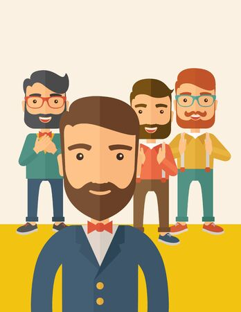 scribe: Team of four happy hipster Caucasian business people with beard, standing clapping their hands and smiling. Winner, teamwork concept. A contemporary style with pastel palette, beige tinted background. flat design illustration. Vertical layout with text sp Stock Photo