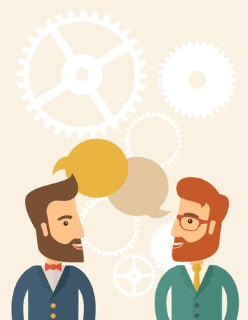 caucasian men: Two happy hipster Caucasian men with beard facing each other wearing jacket sharing and gathering ideas with bubble text on the top of their heads. Team building concept. A contemporary style with pastel palette, beige tinted background. flat design illus Stock Photo