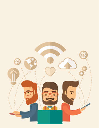 Three outstanding hipster Caucasian employees with beard discussing and sharing brilliant ideas, gathering an information, preparing for their marketing plan presentation using their tablets and laptop with wifi connection. Brainstorming, teamwork concept Stock Photo