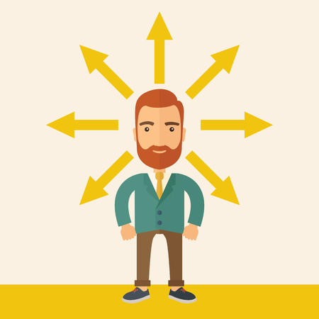 onwards: A hipster Caucasian businessman happily standing with arrows around him that shows his success in reaching his target in business. Business growth concept. A contemporary style with pastel palette, beige tinted background. flat design illustration. Square