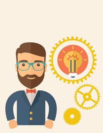 good looking: A young good looking, smart hipster Caucasian man with beard thinking a new bright idea, a different kind of imagination  inspired by bulb shape. Human intelligence concept.A contemporary style with pastel palette, beige tinted background. flat design ill