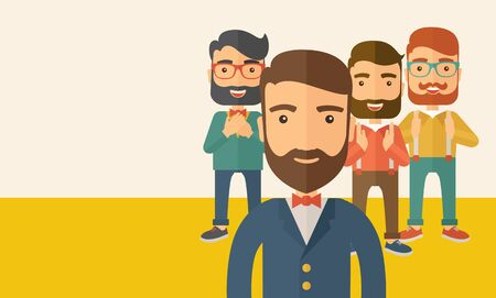 scribe: Team of four happy hipster Caucasian business people with beard, standing clapping their hands and smiling. Winner, teamwork concept. A contemporary style with pastel palette, beige tinted background. flat design illustration. Horizontal layout with text  Stock Photo