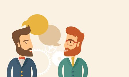 Two happy hipster Caucasian men with beard facing each other wearing jacket sharing and gathering ideas with bubble text on the top of their heads. Team building concept. A contemporary style with pastel palette, beige tinted background. flat design illus Stock Photo