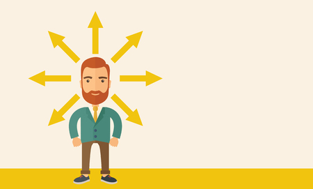 onwards: A hipster Caucasian businessman happily standing with arrows around him that shows his success in reaching his target in business. Business growth concept. A contemporary style with pastel palette, beige tinted background. flat design illustration. Horizo