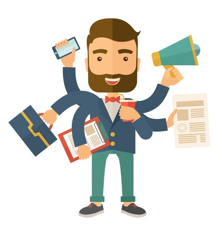 eager: A young happy hipster Caucasian with beard has six arms doing multiple office tasks at once as a symbol of the ability to multitask, performing multiple task simultaneously. Multitasking concept. A contemporary style. flat design illustration isolated on