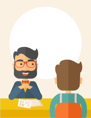 the applicant: A smiling Caucasian human resource manager with beard interviewed the applicant with his curriculum vitae for the job vacancy.  Employment, recruitment concept. A contemporary style with pastel palette, beige tinted background. flat design illustration. V Stock Photo