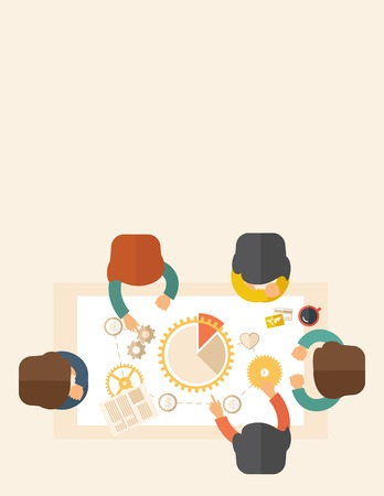 A meeting  of a business people sitting facing each other in the office with coffee and papers on the table infront of them. Sharing and gathering ideas for their marketing plan. Teamwork concept. A contemporary style with pastel palette, beige tinted bac