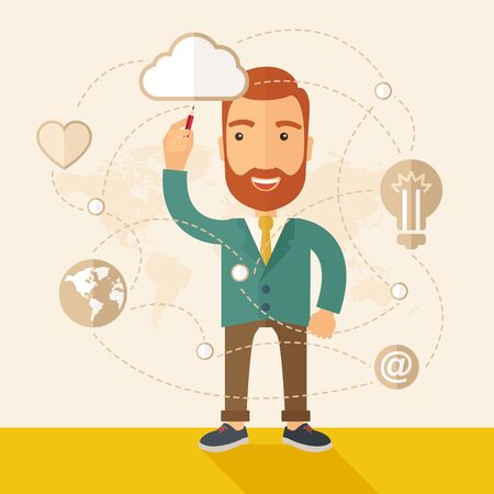 illustrating: A happy, hipster Caucasian businessman with beard standing wearing jacket, raising his right hand holding a pen illustrating, interpreting his marketing plan inside the conference room. Business plan concept. A contemporary style with pastel palette, beig
