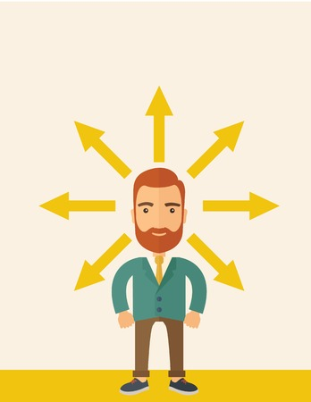 onwards: A hipster Caucasian businessman happily standing with arrows around him that shows his success in reaching his target in business. Business growth concept. A contemporary style with pastel palette, beige tinted background. flat design illustration. Vertic Stock Photo