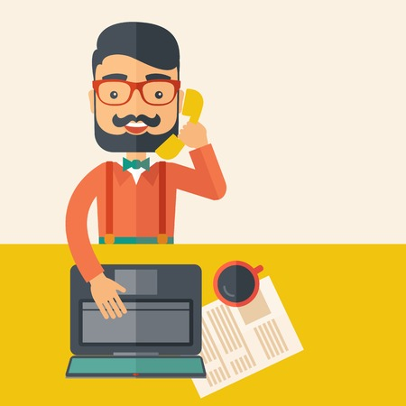 dispatcher: Hipster Caucasian online customer service operator with beard smiling while talking to his customer inside his office. Business communication concept. A contemporary style with pastel palette, beige tinted background. flat design illustration. Square layo Stock Photo