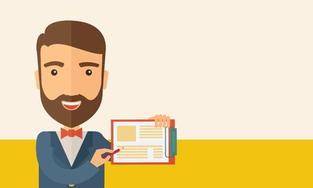 A handsome hipster caucasian man wearing blue jacket holding his clipboard with paper where he wrote his report happily presenting his marketing plan. Marketing strategy concept. A contemporary style with pastel palette, beige tinted background. flat desi