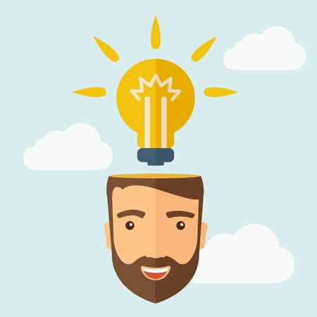 A young happy Caucasian businessman with beard thinking about success solution. Human intelligence concept. A contemporary style with pastel palette, soft blue tinted background with desaturated clouds. flat design illustration. Square layout. Stock Photo