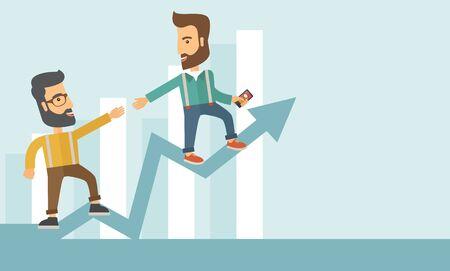 Two hipster Caucasian businessmen with beard standing working together to reach their quota in sales with the arrow up showing that they are successful. Teamwork concept. A contemporary style with pastel palette soft blue tinted background. flat design il