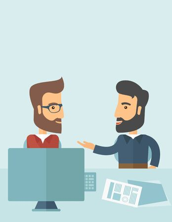 dealing: Two Caucasian businessmen with beard sitting while talking infront of laptop and documents agreeing on a business deal. Partnership, teamwork concept. A contemporary style with pastel palette soft blue tinted background. flat design illustration.Vertical