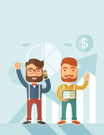 raise hand: Two hipster Caucasian employees with beard standing happy for the certicate award they received. Winner, happy concept. A contemporary style with pastel palette soft blue tinted background. flat design illustration. Vertical layout with text space on top