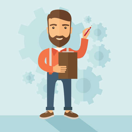 illustratio: A hipster Caucasian employee with beard standing holding a pen presenting and sharing his report in marketing strategy inside conference room. Reporting concept. A contemporary style with pastel palette soft blue tinted background. flat design illustratio