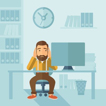 despairing: A sad hipster Caucasian businessman with beard sitting infront of his table looking at laptop having a problem reaching the deadline of his report. A contemporary style with pastel palette soft blue tinted background. flat design illustration. Square layo