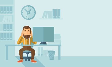 despairing: A sad hipster Caucasian businessman with beard sitting infront of his table looking at laptop having a problem reaching the deadline of his report. A contemporary style with pastel palette soft blue tinted background. flat design illustration. Horizontal  Stock Photo