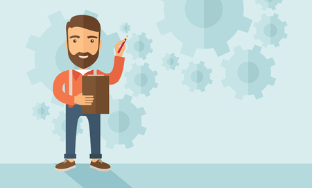 A hipster Caucasian employee with beard standing holding a pen presenting and sharing his report in marketing strategy inside conference room. Reporting concept. A contemporary style with pastel palette soft blue tinted background. flat design illustratio