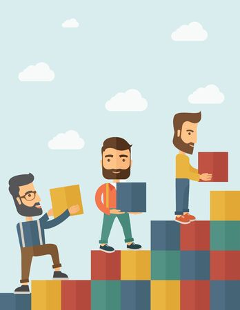 sales team: Three hipster Caucasian men with beard carrying blocks putting one by one going up as a sign of increasing sales. Team building concept.  A contemporary style with pastel palette soft blue tinted background with desaturated clouds. flat design illustratio