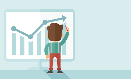 A Caucasian businessman facing backward standing infront of his chart holding a pen illustrating his marketing sales. Business growth concept. A contemporary style with pastel palette soft blue tinted background. flat design illustration. Horizontal layou