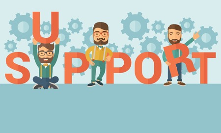 Three hipster Caucasian businessmen with beard holding a letter, it is a support message they need help from others. Teamwork concept. A contemporary style with pastel palette soft blue tinted background. flat design illustration. Horizontal layout.
