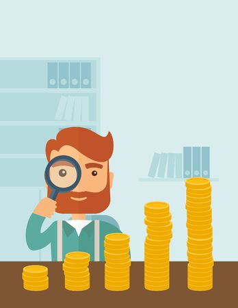 A hipster Caucasian businessman with beard looking his growing business in financial crisis concept. Economy and money, coin and success. When others falls, we rise up. A contemporary style with pastel palette soft blue tinted background. flat design illu