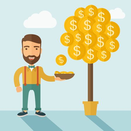 illustratio: A Caucasian with beard man standing while catching a dollar coin from money tree. Dollar signs growing on branches and falling from tree. A contemporary style with pastel palette soft blue tinted background with desaturated clouds. flat design illustratio
