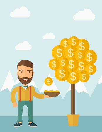 A Caucasian with beard man standing while catching a dollar coin from money tree. Dollar signs growing on branches and falling from tree. A contemporary style with pastel palette soft blue tinted background with desaturated clouds. flat design illustratio