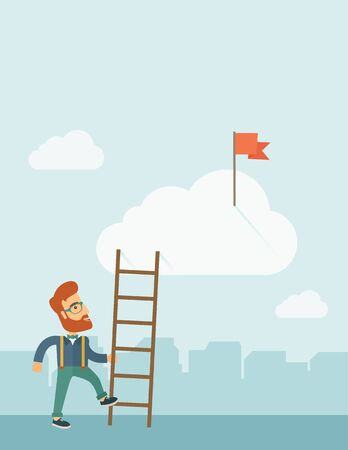 opportunity sign: A hipster Caucasian man with beard standing while holding the career ladder to get the flag in the clouds. Career, success concept. A contemporary style with pastel palette soft blue tinted background with desaturated clouds. flat design illustration. Ver