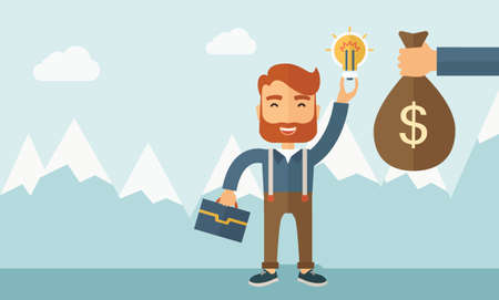 cash cycle: A hipster Caucasian businessman with beard exchange his hand with idea bulb to hand of money bag. Exchanging concept. A contemporary style with pastel palette soft blue tinted background with desaturated clouds. flat design illustration. Horizontal layout