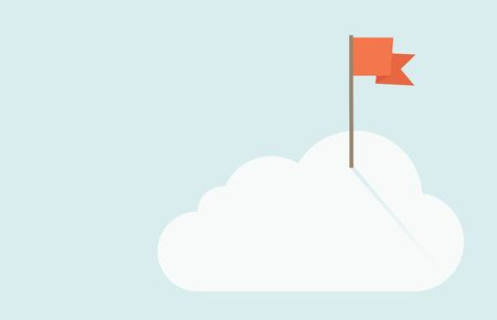 opportunity sign: A red flag is on top of the cloud. A contemporary style with pastel palette soft blue tinted background with desaturated clouds. flat design illustration. Horizontal layout. Stock Photo