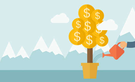 grow money: A human hand watering money dollar coin tree to grow bigger. Hardworking concept. A contemporary style with pastel palette soft blue tinted background with desaturated clouds. flat design illustration. Horizontal layout. Stock Photo